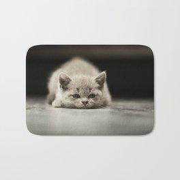 sleepy british kitten Bath Mat