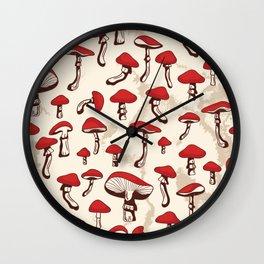 Red Mushrooms Wall Clock