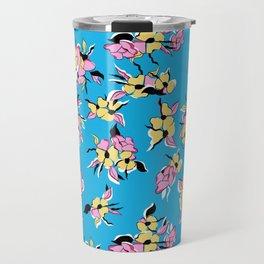 Colorful, girly Blue, pink and yellow, floral botanical print pattern Travel Mug