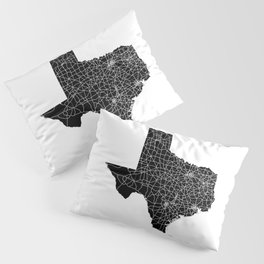 Texas Black Map Pillow Sham