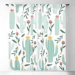 Mint Cactus Garden Blackout Curtain