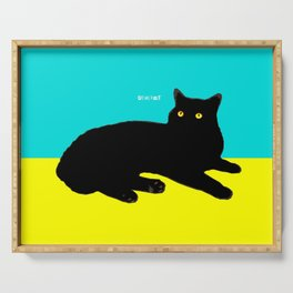 Black Cat on Yellow and Sky Blue Serving Tray