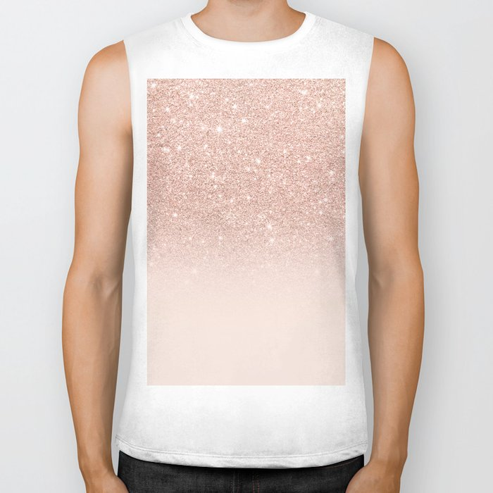 Rose gold faux glitter pink ombre color block Biker Tank