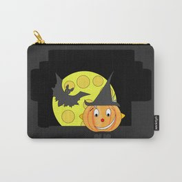 Funny half smile pumpkin head with bat and moon Carry-All Pouch