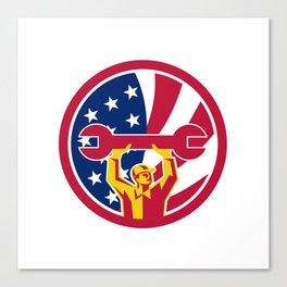 American Mechanic USA Jack Flag Icon Canvas Print