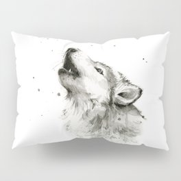 Wolf Howling Watercolor Animals Painting Black and White Pillow Sham