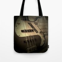 bass Tote Bags featuring Bass-ic by Andy Burgess