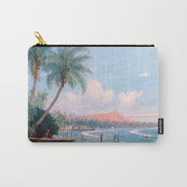 Waikiki Beach, Diamond Head, Oahu landscape painting by D. Howard Hitchcock Carry-All Pouch
