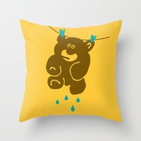 kindle Throw Pillows featuring Teddy's Wet by Efon Vee