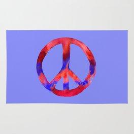 Patriotic Peace Sign Tie Dye Watercolor on Blue Rug