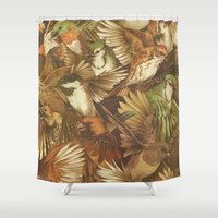 abstract Shower Curtains featuring Red-Throated, Black-capped, Spotted, Barred by Teagan White