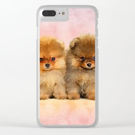 Cute Pomeranian Puppies Clear iPhone Case