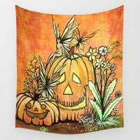fairies Wall Tapestries featuring Spunky Pumpkin Fairies by GnarlyBones
