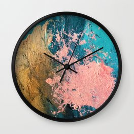 Coral Reef [1]: colorful abstract in blue, teal, gold, and pink Wall Clock