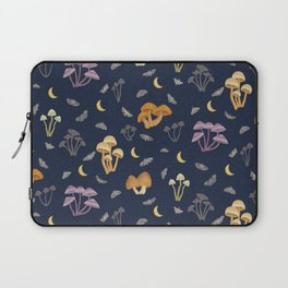 Mushrooms in the Moonlight with Moths - Moon Woodland Laptop Sleeve