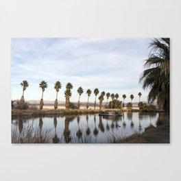 California Lake Lined Palm Tree Photograph Canvas Print