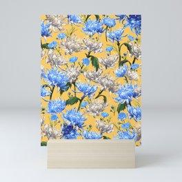 Mums Pattern     Yellow-Blue-Cream-White Mini Art Print