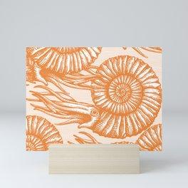 AMMONITE COLLECTION ORANGE Mini Art Print