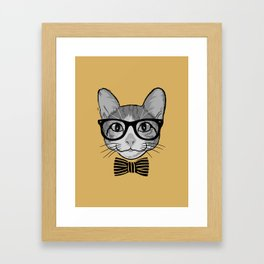 Cat Hipster with Stripes Bow Tie Framed Art Print
