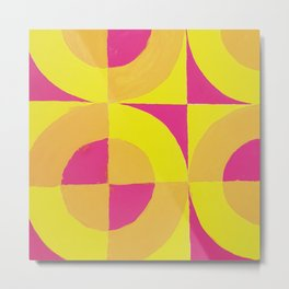 Geometric abstract hand painted neon pink yellow pattern Metal Print
