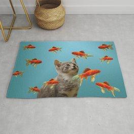 Goldfish with kitten Rug