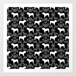 English Bulldog silhouette florals black and white minimal dog breed pattern print gifts bulldogs Art Print