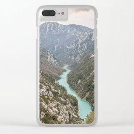Blue river through the French mountains Clear iPhone Case