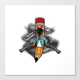 Gangsta pencil with guns illustration. Yellow pen with bandana mask on face, criminal t-shirt print. Canvas Print