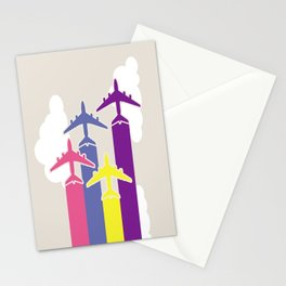 Colorful airplanes Stationery Cards