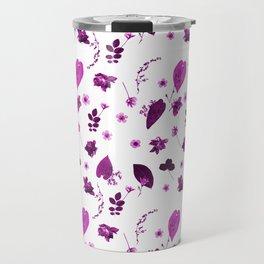 Purple Floral Pattern Pressed Flowers and Leaves Travel Mug
