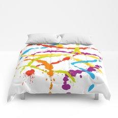 Splattered Rainbow [WHITE] Comforters