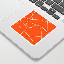 """Abstract lines"" - White on orange Sticker"