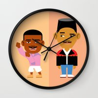 fresh prince Wall Clocks featuring The Fresh Prince by Evan Gaskin