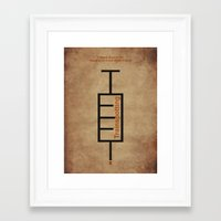 trainspotting Framed Art Prints featuring Trainspotting Typographic Syringe. by Agu Luque