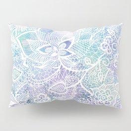 Modern purple lavender turquoise watercolor floral lace hand drawn illustration Pillow Sham