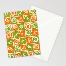 Microscopic Life Sillouetts Orange and Green Stationery Cards