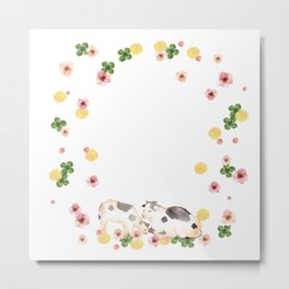 Watercolor cute cows family with flowers Metal Print