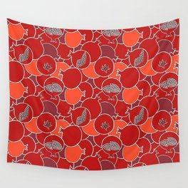 Pomegranate Harvest with Fruit and Seeds Wall Tapestry