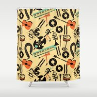 blankets Shower Curtains featuring Jazz Rhythm (positive) by Chicca Besso