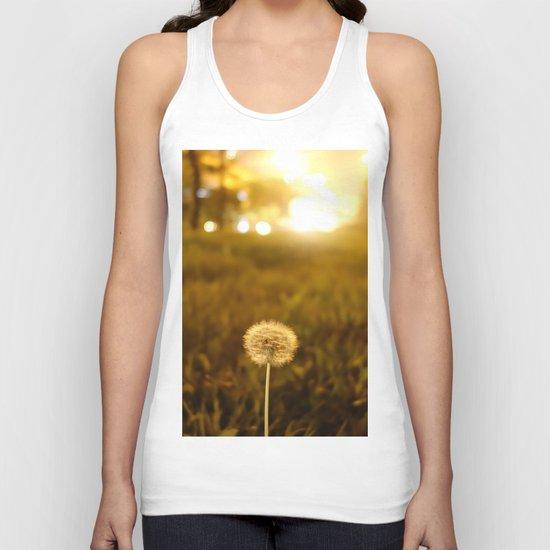 Golden Dandelion Sunset Unisex Tank Top