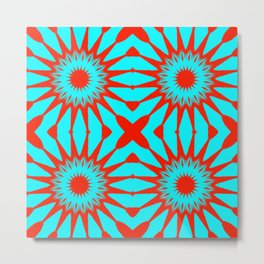 Turquoise & Red Pinwheel Flowers Metal Print