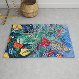 Australian Wildflower Bouquet with Citrus Print Still Life Painting Rug