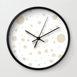 Mixed Polka Dots - Pearl Brown on White Wall Clock