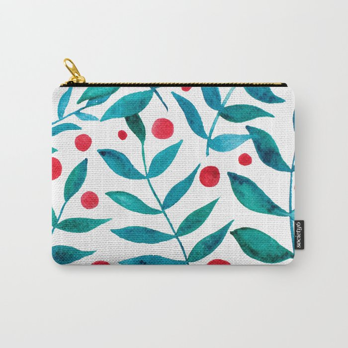 Watercolor berries and branches - turquoise and red Carry-All Pouch