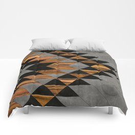 Urban Tribal Pattern 10 - Aztec - Concrete and Wood Comforters