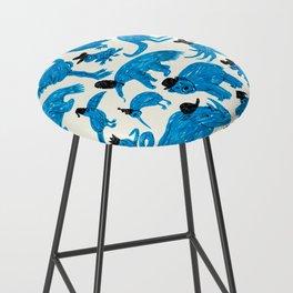 Blue Animals Black Hats Bar Stool