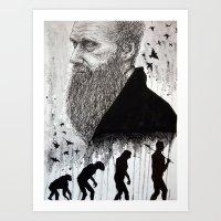darwin Art Prints featuring DARWIN by _alienboi_