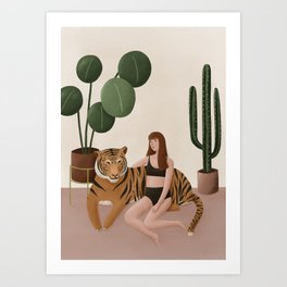 Tiger and woman Art Print