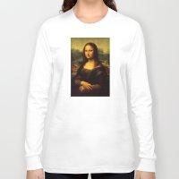 mona lisa Long Sleeve T-shirts featuring Mona Lisa by Elegant Chaos Gallery