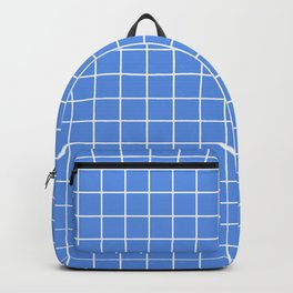 United Nations blue - turquoise color - White Lines Grid Pattern Backpack